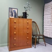 Herbert E Gibbs Mid-Century Tall Boy Chest of Drawers